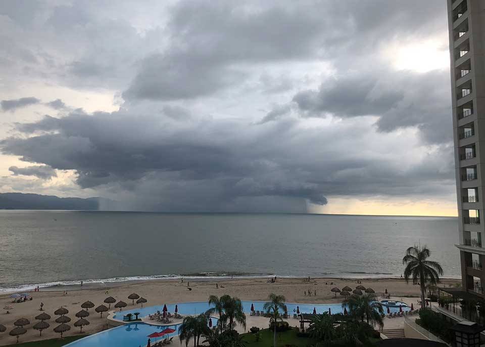 tropical storm cell over Banderas Bay