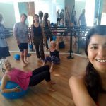 Besides yoga, we also do regular Pilates Reformer classes with our friends Lisa and Don from s/v Windcharmer. Here we are warming up with our teachers. Heidi, Kirk, Don, Tere, Lisa, and Karla.