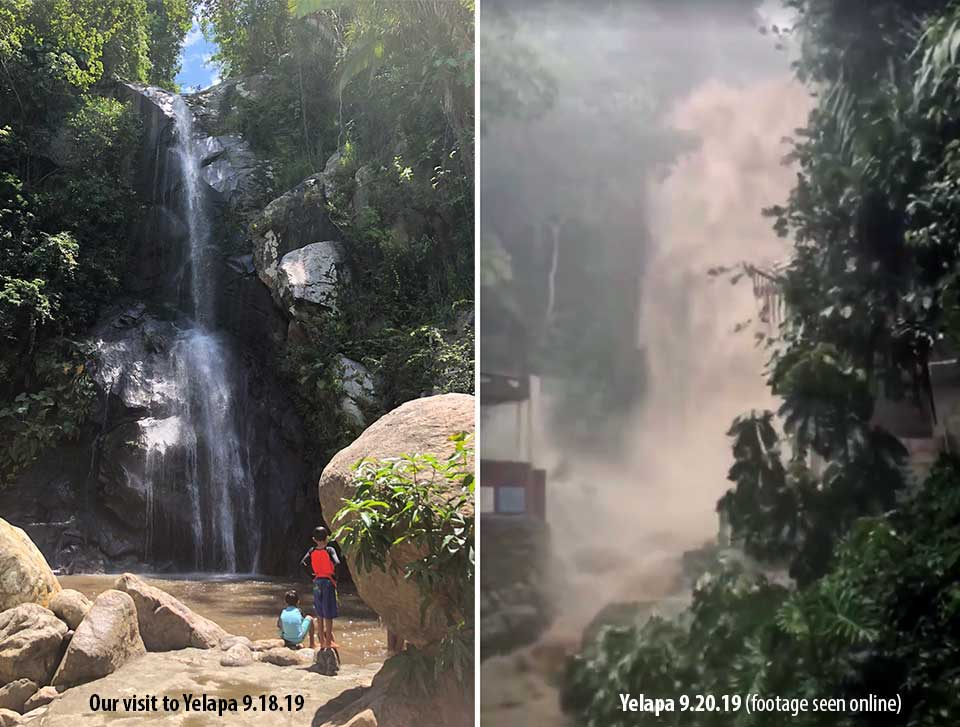 Yelapa water falls pre- and post-hurricane Lorena