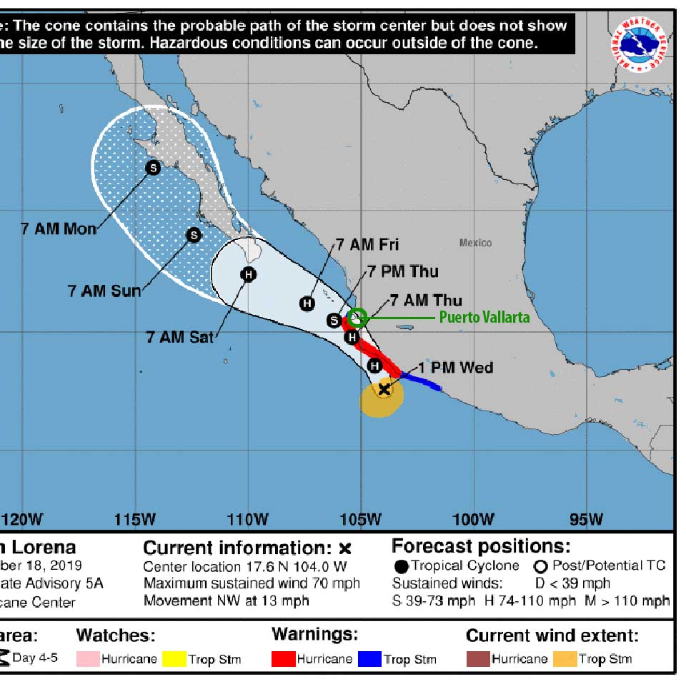 predicted track of hurricane lorena