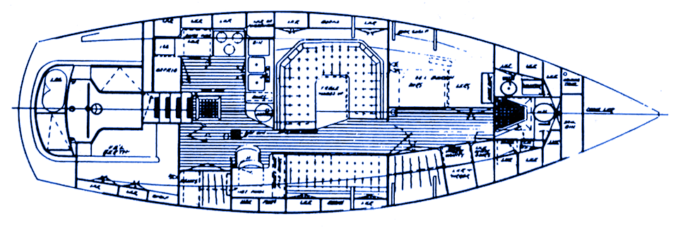 Passport 40 interior layout: U-shaped salon, pullman berthm, head forward.