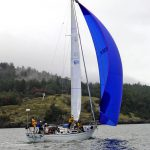 s/v Due West flying Big Blue at Round the County race San Juan Island, WA