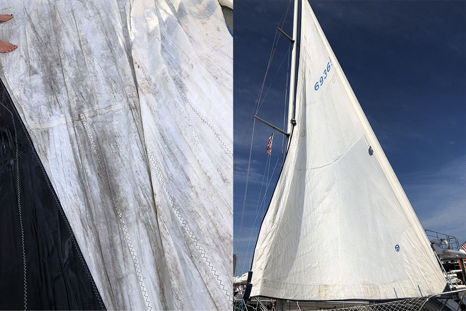 Before and After, dirty and clean sail.